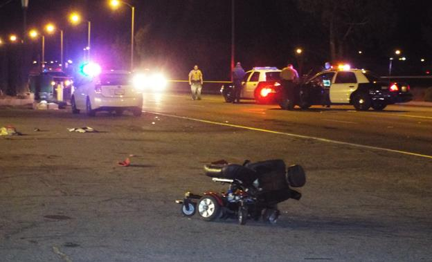 The fatal collision happened around 7:53 p.m. Saturday, April 11, on Sierra Highway south of Avenue J-2, sheriff's officials said. (Photo by LUIS MEZA)
