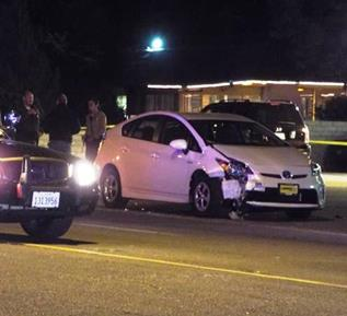 The female driver remained at the location, and speed and alcohol do no appear to be factors in the collision, sheriff's officials said. (LUIS MEZA)