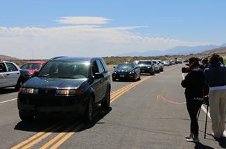 The first cars travel on the new road. (City of Palmdale)