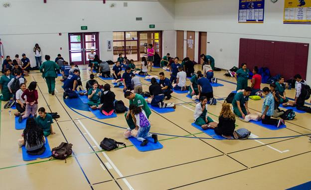 The training was made possible by a grant from Ross Stores and the American Heart Association that provided the school with 10 hands-only CPR kits, including inflatable CPR mannequins.  (Contributed photo)