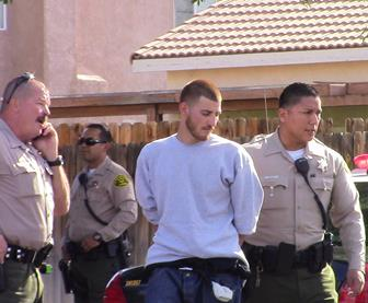 This suspect was arrested after a brief foot chase, deputies said. A second suspect (not pictured) appeared to be under influence of heroin, Sgt. Owen said. (LUIS MEZA)
