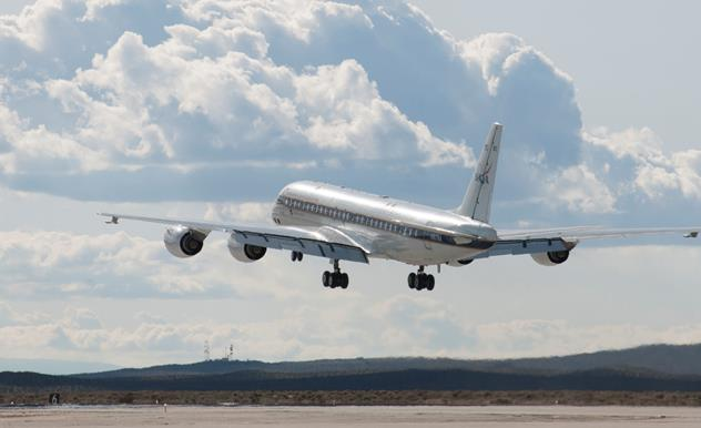 NASA's DC-8 aircraft takes off from its base operations in Palmdale on a mission aimed at studying polar winds in the Arctic region. (NASA Photo / Carla Thomas)