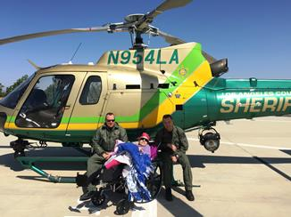 Deputy Day on May 6 surprised Patricia with an Aero Bureau ride-a-long! (LASD)