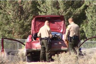 The vehicle, which had a North Carolina license plate, got stuck in the desert about 300 yards away from where the alleged assault took place, officials said. (LUIS MEZA)