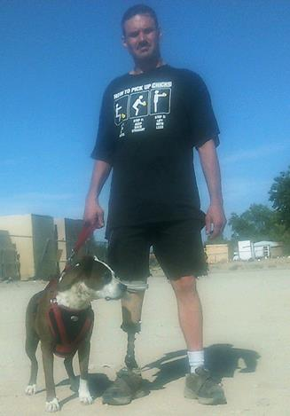 """U.S. Army veteran Robert Leahy claims he was """"rudely and illegally thrown out"""" of Louis Burgers in Lancaster because of his service dog, Sadie. (Contributed photo of Leahy and Sadie)"""