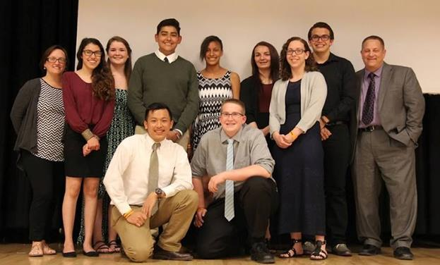 Team 399's 2015-2016 leadership team: Top row (L to R): Jennifer Guertin ( Advisor), Isabel Marquez (Fundraising and Sponsor Manager), Brianna Mariotti (Co-Manager), Alex Gallardo (STEM/ Public Outreach Sub-team Lead), Kirsten Barrow (Administrative Assistant), Lanyell Bowman (Chief Financial Officer), Daniel Romero (Manufacturing Sub-team Lead), David Voracek (Advisor). Bottom Row (L to R): Mikko Mananghaya (Multimedia Sub-team Lead), Matthew Tweedy (Co-Manager), Ruth Nuttall (Control Systems Sub-team Lead)