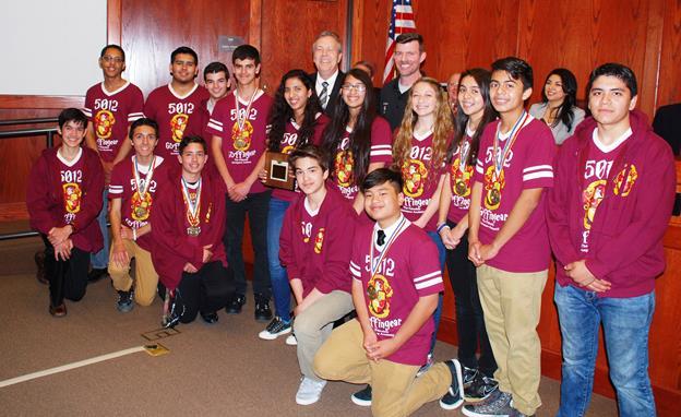 Team 5012 Gryffingear and Palmdale Mayor Jim Ledford. (contributed)