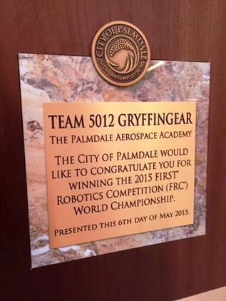 Team 5012 Gryffingear recognized by Palmdale 2