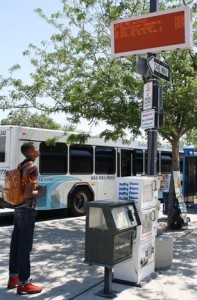 The ever-changing signs display real-time bus departure information for all routes, as well as the current date and time which is synchronized with fleet operations, and a scrolling message line. (contributed)