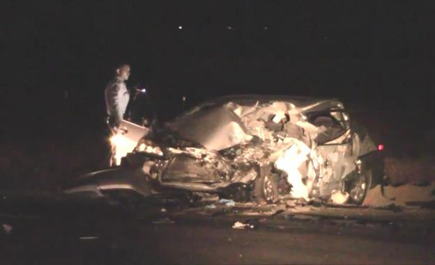 Daniel Colato was at the wheel of this 2004 Honda Accord, according to the California Highway Patrol. (Photo by LUIS MEZA)