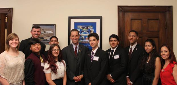 Team 5012 members meet with Congressman Steve Knight in his office to discuss STEM legislation. (contributed)