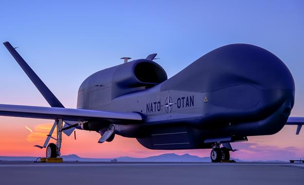 The first NATO Alliance Ground Surveillance (AGS) aircraft was unveilled Thursday in Palmdale by Northrop Grumman and North Atlantic Treaty Organization officials, who said the AGS aircraft will step up NATO's joint intelligence, surveillance and reconnaissance operations - (photo courtesy of Northrop Grumman)