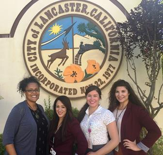 Members of the Antelope Valley Alcohol Prevention Coalition [from left to right] Janice Boafo, Prevention Director;  Jennifer Galarze, Program Coordinator; Ruth Morales and Andrea Ramirez, Health Educators. The AVAPC has lobbied the Lancaster City Council to pass the ordinance since late 2012. [contributed photo)