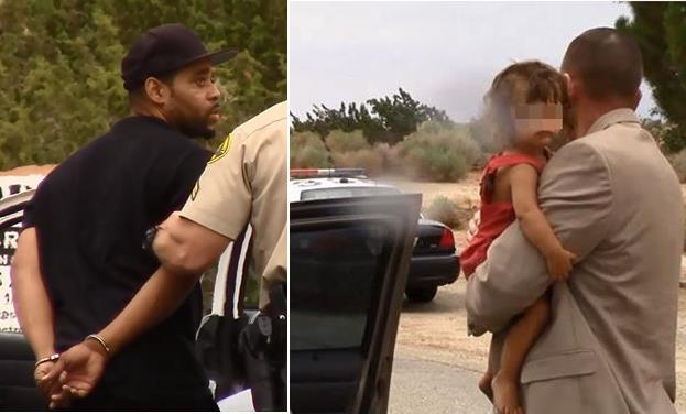 [Left] Brandon Wynn is taken into custody Saturday, July 18, 2015. [Right] The child is rescued by detectives. (LUIS MEZA)