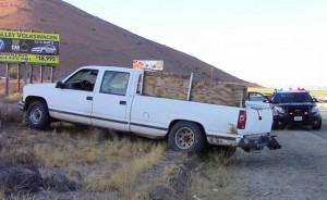 McKie allegedly crashed this pickup truck into a home near Tehachapi, CHP officials said. (LUIS MEZA)