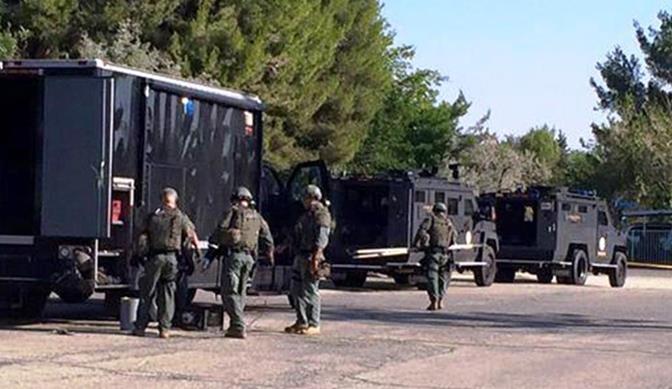 Special Enforcement Bureau deputies arrive in Lake Los Angeles Wednesday, July 22. (Courtesy LASD)