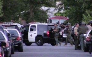 A sheriff's Special Enforcement Bureau team respond Tuesday, July 7, to the 1300 block of Indian Sage Road in Lancaster. (Photo by LUIS MEZA)