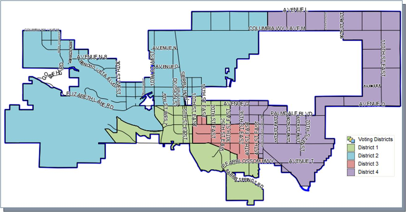 An interactive district map is available at at the City of Palmdale's website for residents to see which district they live in. [Click here to access it.]