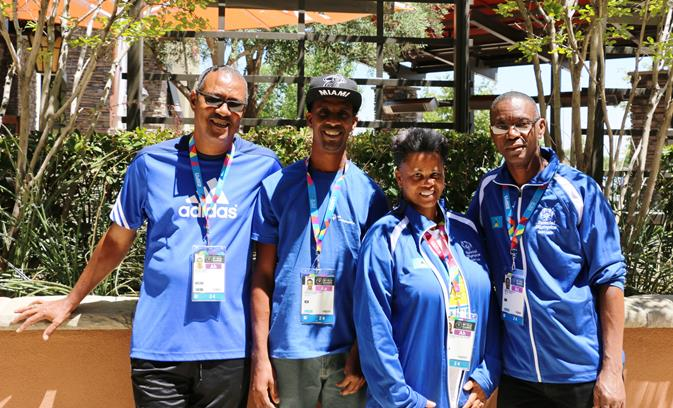 """Special Olympics athletes from St. Lucia at the Antelope Valley Mall Wednesday, July 22. The athletes arrived to """"red carpet"""" treatment at Claim Jumper before shopping at the mall. (contributed)"""