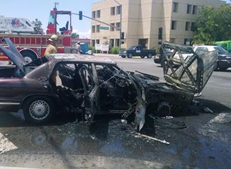 The vehicle fire was reported around 1:22 p.m. Friday, July 31, on the corner of 15th Street West and Avenue J, officials said.