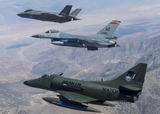 Pictured from top down is an F-35 Lightning II, an F-16 Fighting Falcon and an A-4 Skyhawk. (Photo courtesy Frank Crebas)