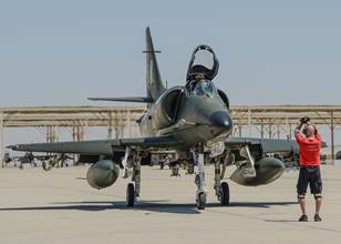 An A-4 Skyhawk pilot prepares for take-off Aug. 21 in support of operational test of the F-35A for the Royal Netherlands Air Force. (U.S. Air Force photo by Rebecca Amber)