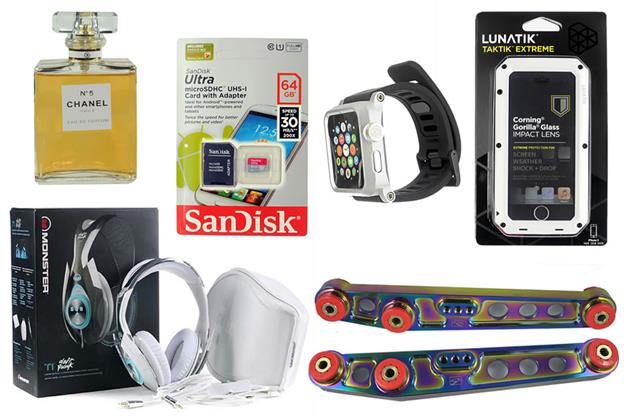 According to the Counterfeit Report, this image depicts counterfeit products purchased on eBay -- Chanel No. 5 EDP, SanDisk 64GB micro SDHC memory card, unreleased Lunatik Epik Apple iWatch Case, Lunatik TakTik Extreme iPhone case, Monster Tron T1 headphones, and Group-A Autosports lower automobile suspension control arms. (Photo source: The Counterfeit Report)