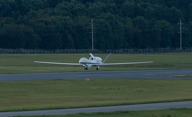 NASA's remotely piloted Global Hawk aircraft arrived at NASA's Wallops Flight Facility early on Saturday, Aug. 22, where it will begin a NOAA-led mission seeking to improve hurricane forecasts. (NASA Photo / Jamie Adkins)