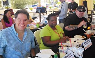 Judges for the Antelope Valley Fair's food contest included Jim Winburn (left) from The AV Times , Kim Robbins of RZ Radio LLC (KTPI), Craig Altman of Adelman Broadcasting, and (background) Renee Eng of Time Warner Cable. (Image courtesy AV Fair)
