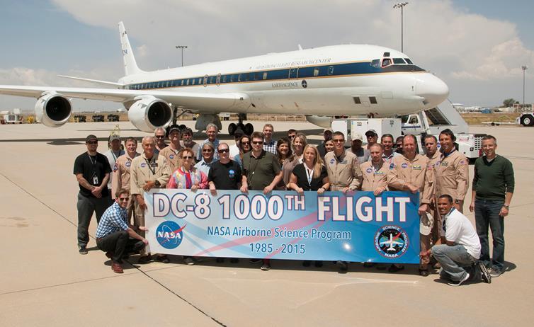 The DC-8 team celebrates a milestone for the flying laboratory. [NASA Photo / Carla Thomas]