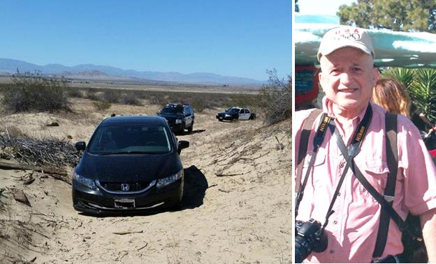 A black 2015 Honda Civic belonging to Nikolaos Christidis was found around 10 a.m. Wednesday, Aug. 12, stuck in the soft desert sand in an area not visible from the road. [LASD, Oceanside Police Department.]