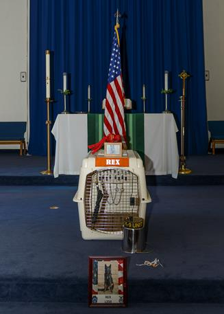 A  display at the front of the chapel represented the bond between dog and handler.  (U.S. Air Force photo by Rebecca Amber)