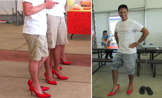 Los Angeles County Deputy Deputy District Attorney Jon Hatami [right] was one of dozens of men who donned high heels last year to take part in the inaugural Walk a Mile in Her Shoes® event. This year's event takes place Saturday, Sept. 26, at Antelope Valley College. [contributed photos]