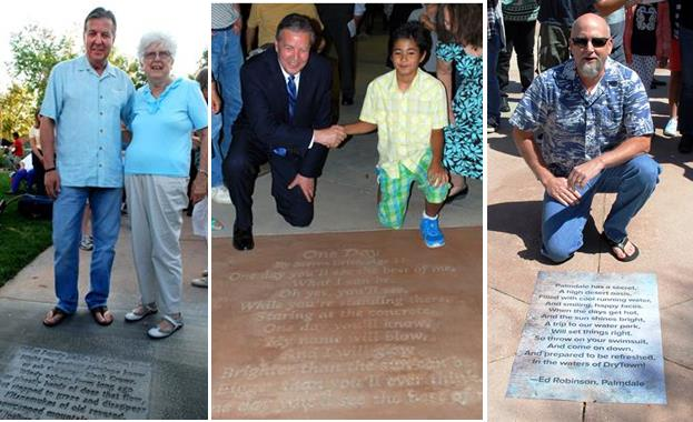 """Past winners of Palmdale's """"Walk on Words"""" poetry contest include Lancaster resident Mary Denning, whose work is stamped in concrete at Poncitlan Square; 11-year-old Palmdale resident Steven Brito, whose work has been engraved in cement in front of the Palmdale Playhouse; and Palmdale resident Ed Robinson, whose poem is stamped in concrete at DryTown."""
