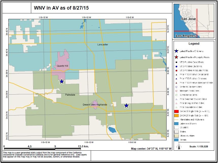West Nile Virus in AV Map 8_27_15