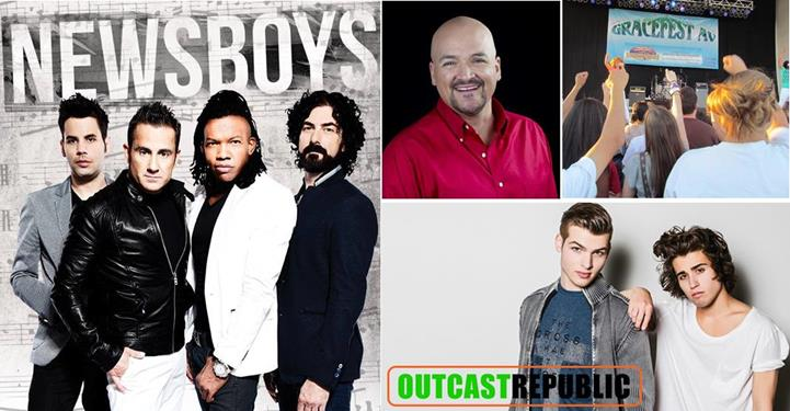 [Left] GraceFest welcomes Newsboys to headline the festival. [Top center] The main stage will also feature Chad Daniel from TV's hit show YouthBytes. [Bottom left] The Zone youth performance stage will feature the popular Outcast Republic. (Contributed images)