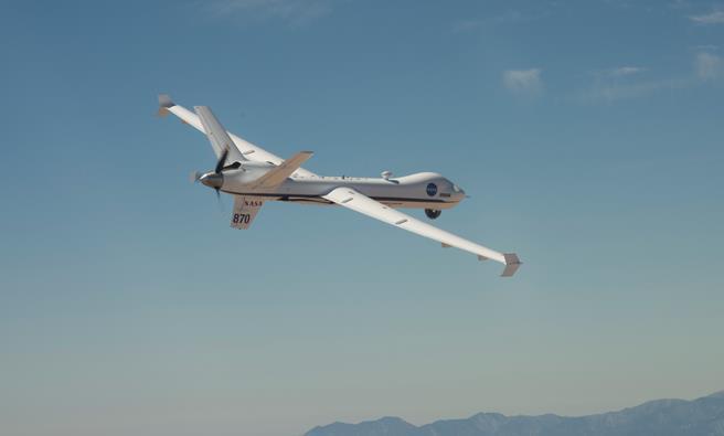 The Ikhana UAS soars over the Mojave Desert during a flight from NASA Armstrong Flight Research Center, Edwards. [NASA Photo / Carla Thomas]