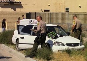 The suspect was fleeing deputies in a vehicle that was reported stolen. [LUIS MEZA]