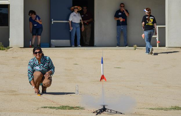 "The ""Blast off Basics"" workshop was designed to make teachers comfortable with using model rocketry in their classroom by giving them a chance to learn about model rockets, build and then launch one. (U.S. Air Force photo by Rebecca Amber)"