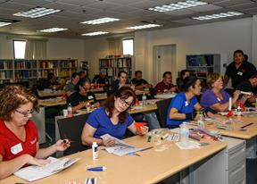 "The inaugural ""Blast off Basics"" workshop for teachers of grades six through 12 was held at the U.S. Air Force Test Pilot School Sept. 26. (U.S. Air Force photo by Rebecca Amber)"