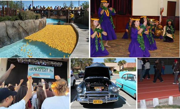 [Top L to R] Kiwanis Duck Races, Antelope Valley International Heritage Festival performers. [Bottom L to R] Gracefest, AV Vets 4 Veterans Classic Auto & Motorcycle Show, Relay for Life.