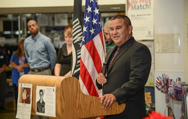 Guest speaker and former POW Andrew Ramirez shares the story of the 32 worst days of his life during the Edwards observance of National POW/MIA Recognition Day Sept. 18. (U.S. Air Force photo by Rebecca Amber)
