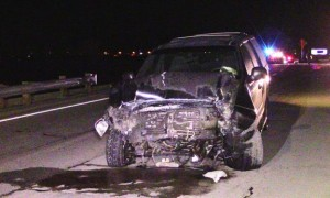 The driver of the 2001 Ford Expedition sustained minor injuries in the collision, according to the CHP. [LUIS MEZA]