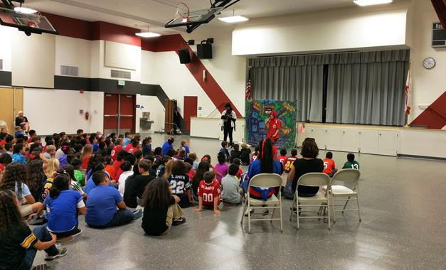 """Anaverde Hills Elementary students learn about electrical safety during a performance of """"A Bug's Light"""" Friday, Oct. 2. [Photo credit: Cathy Hart/Southern California Edison]"""