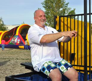 AVH Chief Nursing Officer Don Wenzler prepares to get soaked in the dunk tank at the hospital's 60th anniversary celebration event. [contributed]