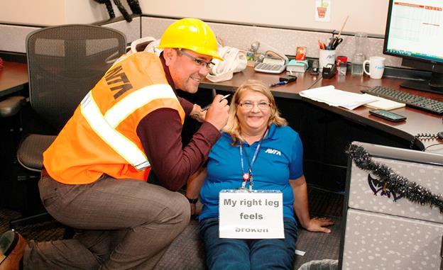 Dietter Aragon and Diane Tuminaro participate in AVTA's emergency preparedness drill Thursday, Oct. 15. [contributed]