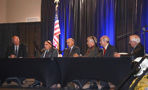 This year's Eagle panel held honorees Lt. Col. (Ret.) Tony Bevacqua, U-2 and SR-71 instructor/test pilot; Lt. Col. (Ret.) David Kerzie, U-2 chief test pilot for Lockheed Martin; Col. (Ret.) Robert Rowe, U-2 chief test pilot for Lockheed Martin; Col. (Ret.) Louis Setter, U-2 instructor/test pilot; and Lt. Col. (Ret.) Ed Yeilding, SR-71 instructor/test pilot. (U.S. Air Force photo by Rebecca Amber)