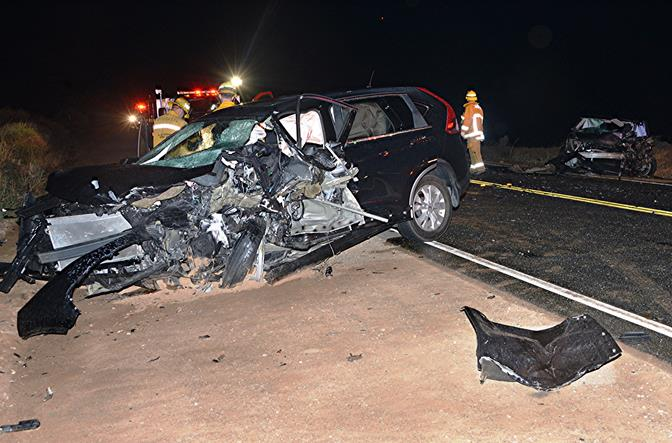 The 2012 Honda CR-V was southbound on San Francisquito Canyon Rd. when it crossed the double yellow lines into the opposing northbound traffic lane, authorities said. (Photo by Rick McClure)