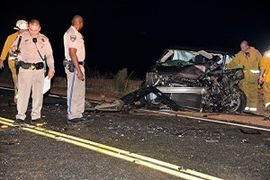The 2014 Ford Flex) was northbound on San Francisquito Canyon Rd., authorities said. (Photo by Rick McClure)