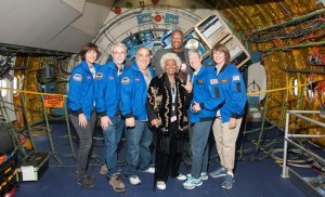 Actress Nichelle Nichols and Airborne Astronomy Ambassadors pose in front of the observatory telescope during their pre-flight safety training on Sept. 14. [NASA Photo / Carla Thomas]